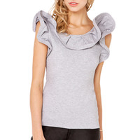 Structured Ruffle Tee Shirt