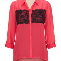 High-low Contrast lace button front blouse
