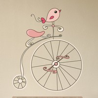 Retro Bird on a Bike Vinyl Wall Decal Sticker by iWALLS on Etsy