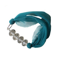 Textile BRACELET - Tourquoise fabric bangle with grey beads