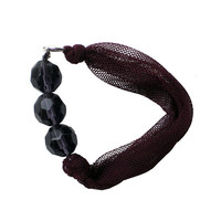 Fabric BRACELET - Burgundy textile bangle with purple beads