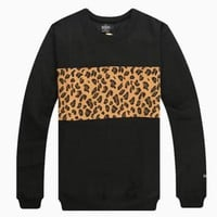 Black Long Sleeve Sweatshirt w/ Leopard Print Stripe