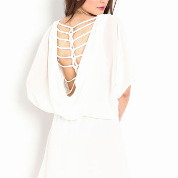 COWL BACK INTERLACED DRESS