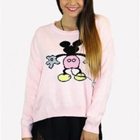 Pink Long Sleeve Sweatshirt w/ Mickey Graphic Print