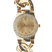 Chunky Chain-Link & Rhinestone Watch | Wet Seal