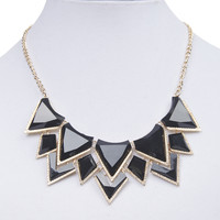 Faceted Triangles Bib Necklace | Wet Seal