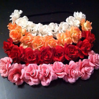 Rose Flower Crown, Bun Crown, Flower Headband -coachella edc ballerina headband