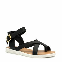 Cross Paths Faux Leather Sandals