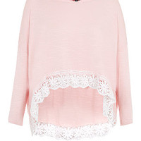 Pink 3/4 Sleeve Dip Crochet Hem Top