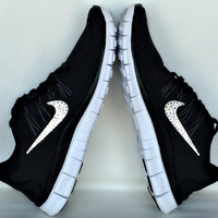Nike Free Run 5.0 shoes in Black/Dark Grey/White Metallic Silver with Swarovski crystals