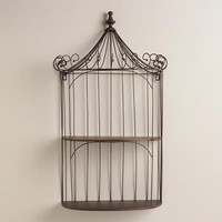 Brown Wrought Iron Shelf Birdcage