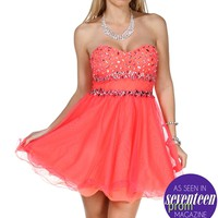 Mandoline-Strawberry Neon Prom Dress