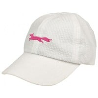 Pink Longshanks Bow Hat in White Seersucker by Lauren James