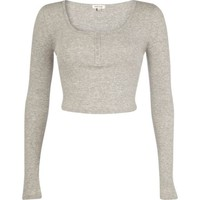 Grey marl rib long sleeve crop top - t-shirts / tanks / sweats - sale - women