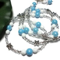 Beaded Lanyard Necklace for Id Badge Sky Blue White Silver Jewelry | PinkCloudsAndAngels - Accessories on ArtFire