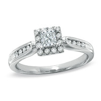 1/2 CT. T.W. Princess-Cut Diamond Framed Engagement Ring in 14K White Gold - View All Rings - Zales