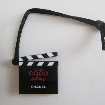 CHANEL Rouge Coco Shine Film Clapperboard Bag Charm / Plastic Ornament
