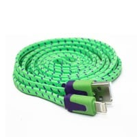 3M 10FT Tangle Free Flat Fabric Braided 8 Pin USB Charger Cable for iPhone 5 5C 5S iPod touch 5th iPad Mini (Green)