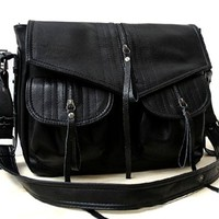 Motorcycle Style Zippers Cross Body Fold Over Shoulder Bag