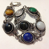 "Navajo Lapis Sterling Bracelet 8"" Onyx Green Malachite Tiger's Eye Brown Amber Moonstone Blue Lazuli Silver 925 Vintage Southwestern Jewelry"