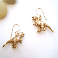 Dinosaur Earrings TRex Earrings Brushed Metal by SparrowMadeCo