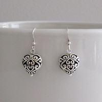 Delicate Celtic Heart Filigree Dangle Earrings-Silver