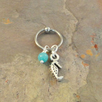 Seahorse Captive Bead Ring Hoop with Blue Amazonite