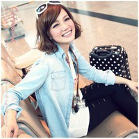 Leisure Style Shrink Sleeve Slim Washed Denim Shirt Baby Blue-Wholesale Women Fashion From Icanfashion.com