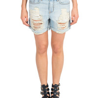 Cuffed Distressed Boyfriend Shorts - Light Blue