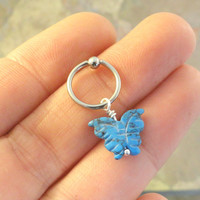 Turquoise Butterfly CBR Earring Belly Button Jewelry Cartilage Hoop