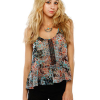 Papaya Clothing Online :: FLORAL TRIMMING SLEEVELESS CHIFFON TOP