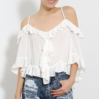 Off Shoulder Ruffled Blouse | MakeMeChic.com