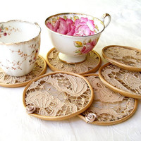 Crochet lace Cup Coaster set Vintage fabric tea color by Mintook