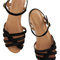 Come Out and Plait Sandal in Onyx | Mod Retro Vintage Sandals | ModCloth.com