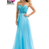 Flirt P4857 - Electric Blue Strapless Beaded Chiffon Prom Dresses Online