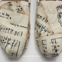 Adult Custom Painted TOMS Shoes - Musical Notes with Ode to Joy by Beethoven