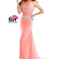 Flirt P4717 - Coral Beaded Chiffon One Shoulder Prom Dresses Online