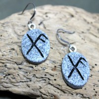Pagan Bind Rune Earrings Featuring Gifu And Ansuz Polymer Clay