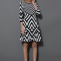 Black & White Geo Stripes Mid-Sleeve Jersey Dress