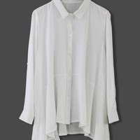 White Cool Touch Asymmetric Blouse
