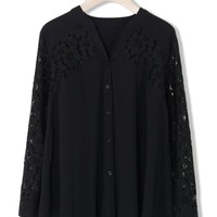 Black Delicate Lace Panel Collarless Shirt