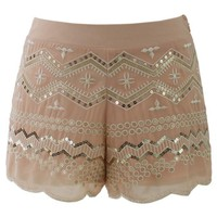 Peach Sequins Embellished Shorts