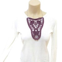 Graceful Lace Necklace, Lace Bib, Burgundy, Lace Fashion, Gothic, Summer Jewelry, FREE SHIPPING, Tribal necklace, Steampunk Jewelry