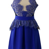 Royal Blue Sleeveless Lace Overlay Dress