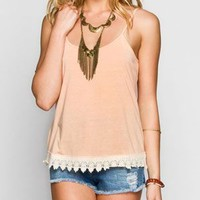 Full Tilt Essential Womens Crochet Trim Cami Peach  In Sizes