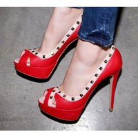 Wholesale High Waterproof increased with fish mouth sandals high heels CZ-0558 red - Lovely Fashion