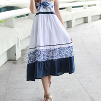 Bohemian Chinese Vase Pattern Embroidery White Blue Dress