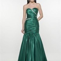Mermaid Sweetheart Strapless Drape Sequin Dark Green Floor-length Prom Dress PD1215