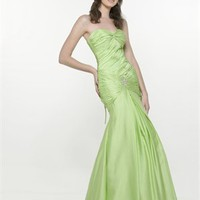 Mermaid Sweetheart Strapless Drape Green Floor-length Prom Dress PD1216