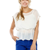 Papaya Clothing Online :: GOLD TRIMMING WAIST BAND CHIFFON TOP
